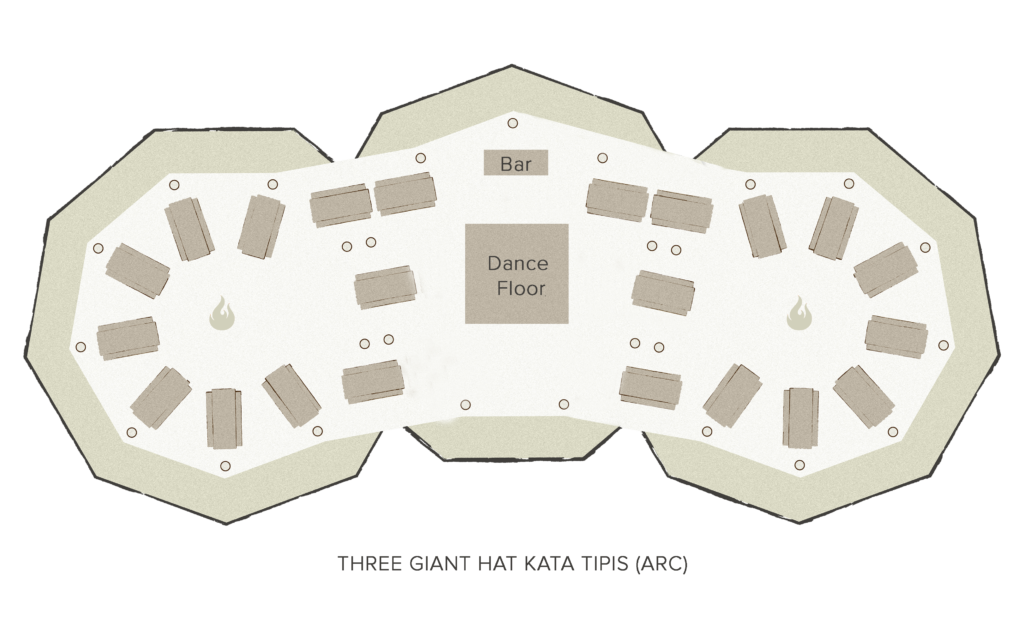 Tipi floor plan - 3 giant Hats
