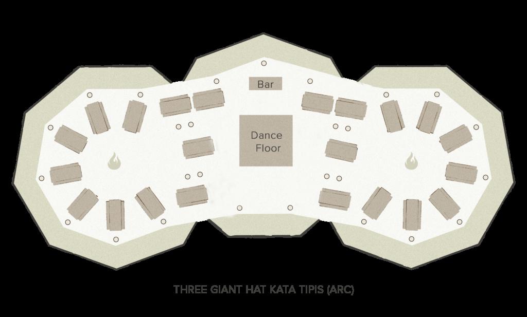 Tipi floor plan - 3 giant Hats