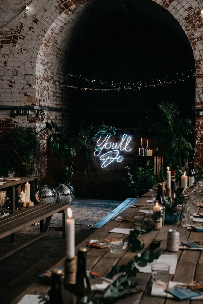 Wedding alter in warehouse building
